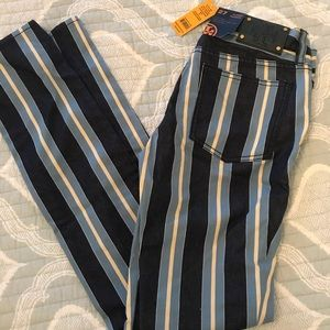 "Tory Burch NWT ""Super Skinny"" striped Jeans S-27"
